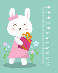 Cute bunny with a gift on a background of flowers. Stadiometer. Vector