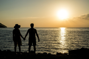 Silhouette of the loving couple