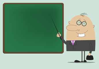 Man teacher standing at the blackboard with a pointer in his han