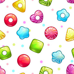 Seamless pattern with colorful glossy lollipops