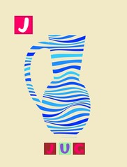 Cute cartoon english alphabet with colorful image and word. Kids vector ABC. Letter J.