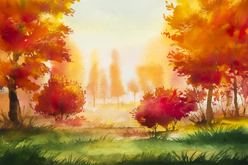 Autumn landscape. Watercolor illustration.