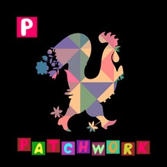 Year of the rooster. Cute cartoon english alphabet with colorful  image and word. Kids vector ABC. Letter P