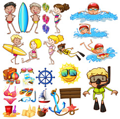 Summer set with swimmers and equipment