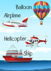 Different types of aircrafts and ship