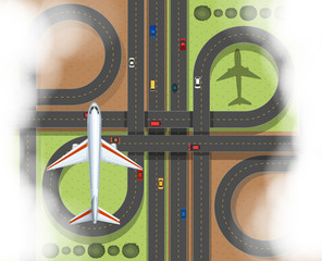 Aerial scene with airplane and roads