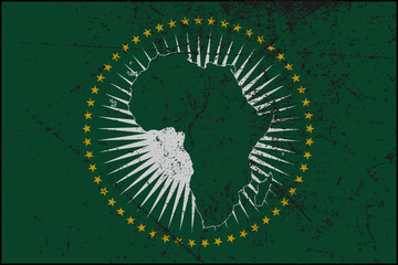 African Union Flag Grunged