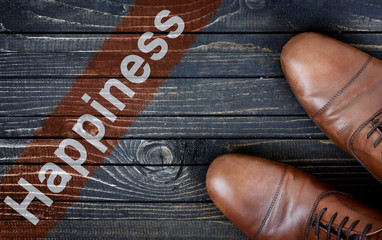 Happiness message and business shoes