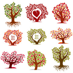Vector stylized nature symbols with red heart, art fruity trees