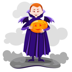 the boy vampire with wings,holding a pumpkin in hands, smiling pumpkin glowing, Vector design for app user interface,vector illustration