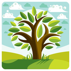 Art vector graphic illustration of stylized branchy tree and spr