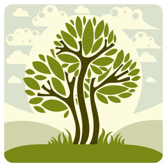 Fantasy landscape with stylized tree, peaceful scene. Season the