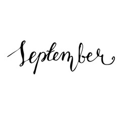 September Hand drawn lettering card