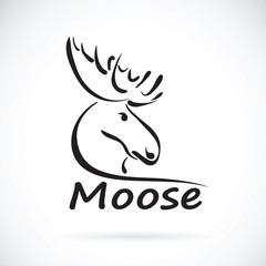 Vector of moose deer head on a white background