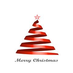 Stylized ribbon Christmas tree Card. Vector illustration.