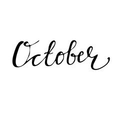 October Hand drawn lettering card