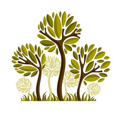 Vector image of creative tree, nature concept. Art symbolic illu
