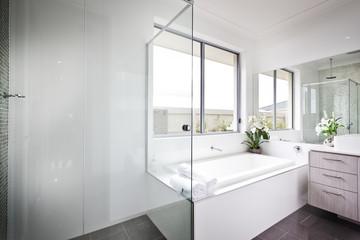 Luxury Washroom With White Walls And Bath Tub