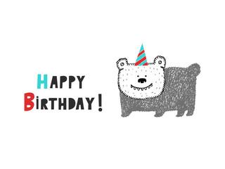 Happy Birthday bear card, vector illustration