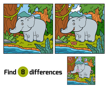Find differences for children, elephant and background