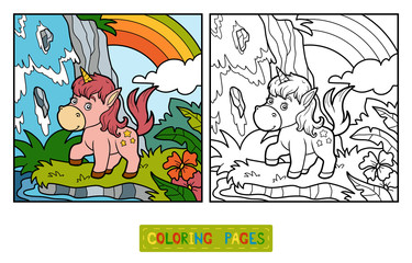 Coloring book, fairy unicorn and rainbow