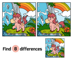 Find differences. Fairy unicorn and rainbow