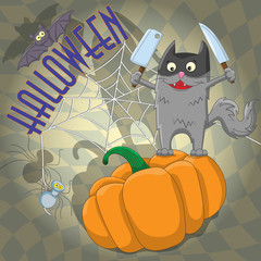 Illustration of Halloween funny cat in a mask with knives is on the pumpkin