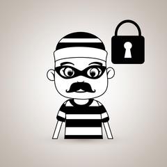 hacker security padlock vector illustration eps 10