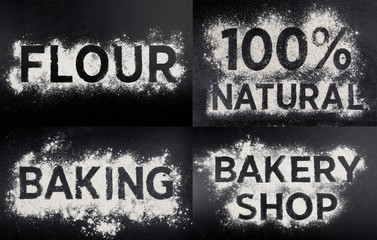 Word made of flour, natural, gluten free food