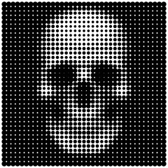 Human skull in halftone dots style Sign of poison or danger to l