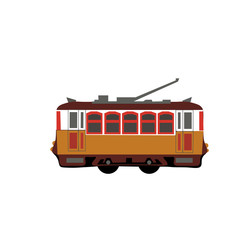 Vintage tram. Retro tram. Detailed tram. Side view tram. Touristic tram. Yellow tram