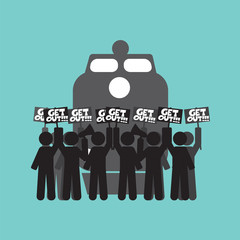 Train Workers Strike And Protest Symbol Vector Illustration