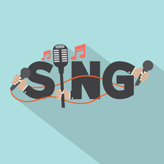 Sing Typography With Microphones Design Vector Illustration