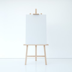Wooden easel with empty white canvas. 3d rendering