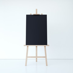 Wooden easel with empty black canvas. 3d rendering