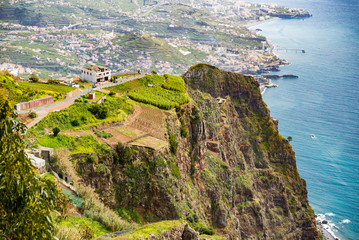 Aerial view of grassy cliff Portuguese Island in Atlantic Ocean. 