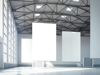 Blank white banners in hangar. 3d rendering