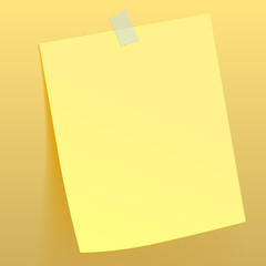 Yellow paper sheet attached by scotch tape to the wall