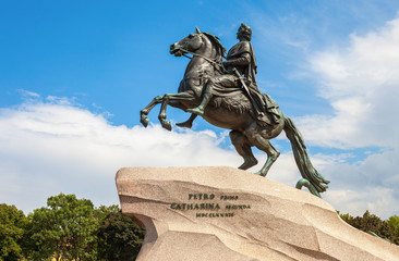 The equestrian statue of Peter the Great (Bronze Horseman) in St