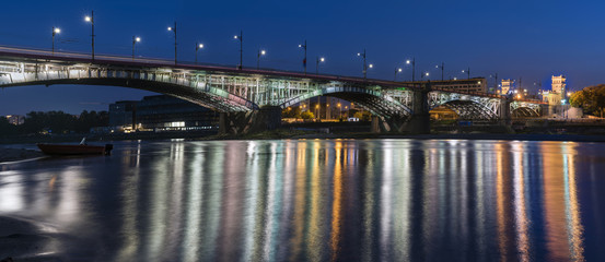 Poniatowski bridge over Vistula river  in Warsaw, Poland