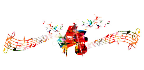Creative music concept vector illustration, colorful piano and violoncello, music instruments with music staff and notes. Design for poster, music concert, festival, music shop, music style template
