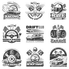 Set of car racing black monochrome emblems, labels, logos and championship race badges with descriptions of classic garage, drift club, world racing. isolated vector illustration