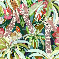 Abstract watercolor  illustration of three giraffes,  background tropical forest, green leaves flowers, color vector fashion print design, summer  fabric texture,