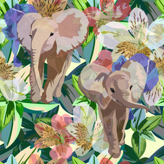 Abstract watercolor draw of  Two baby elephants, tropical flowers, green leaves, background colorful rainforest,