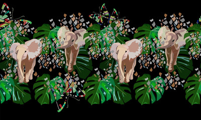 Abstract watercolor draw of  baby elephants, tropical green leaves