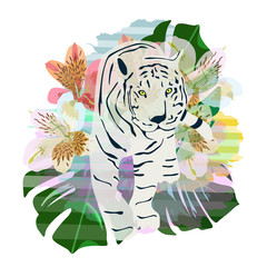Abstract watercolor pattern tiger, floral colorful floral background with striped spots green leaves