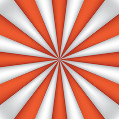 Orange and white abstract rays circle background, striped wallpaper, mesh version, vector design