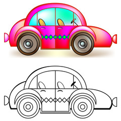 Colorful and black and white pattern car, vector cartoon image.
