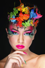 Fashion Brunette Model Portrait. Hairstyle. Haircut. Professiona