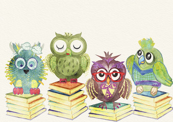 Owl background. Children illustration. Watercolor